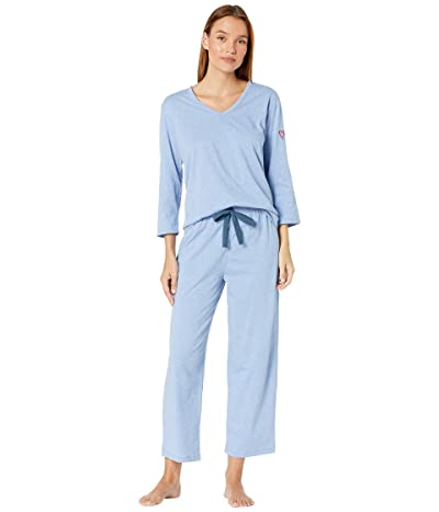 Skin Organic Cotton Blend Heart on Your Sleeve Pajama Set (Heather Blue) Women