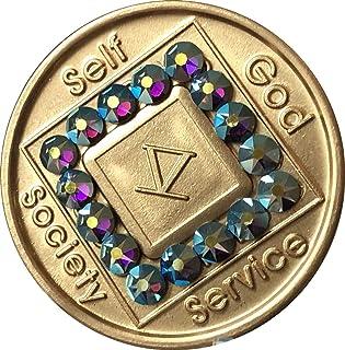 5 Year NA Medallion Bronze Amethyst Swarovski Crystal Chip