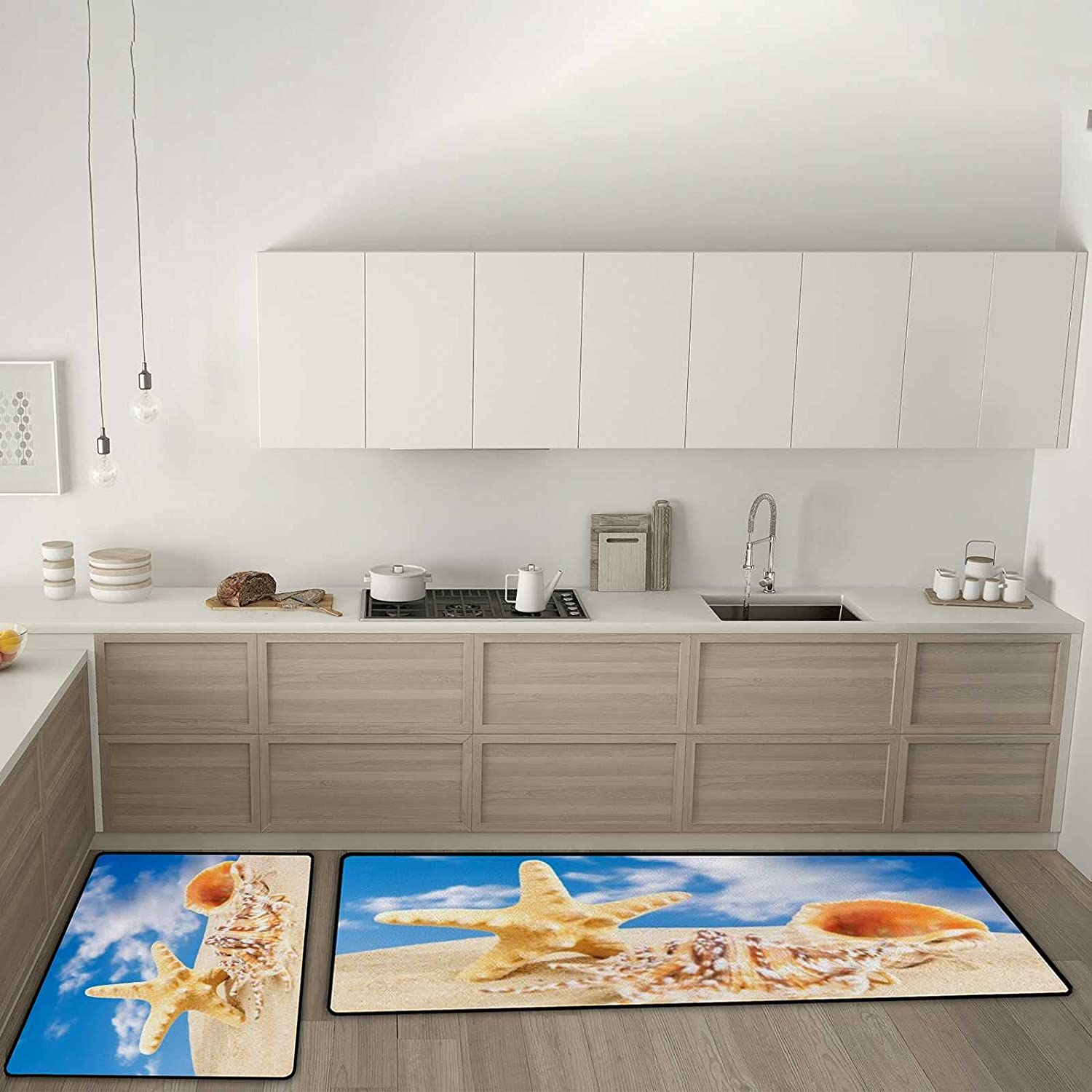 Kuizee Kitchen Mat Max 53% OFF Set of 2 Pieces Fatigue Time shopping Anti Rugs Summer