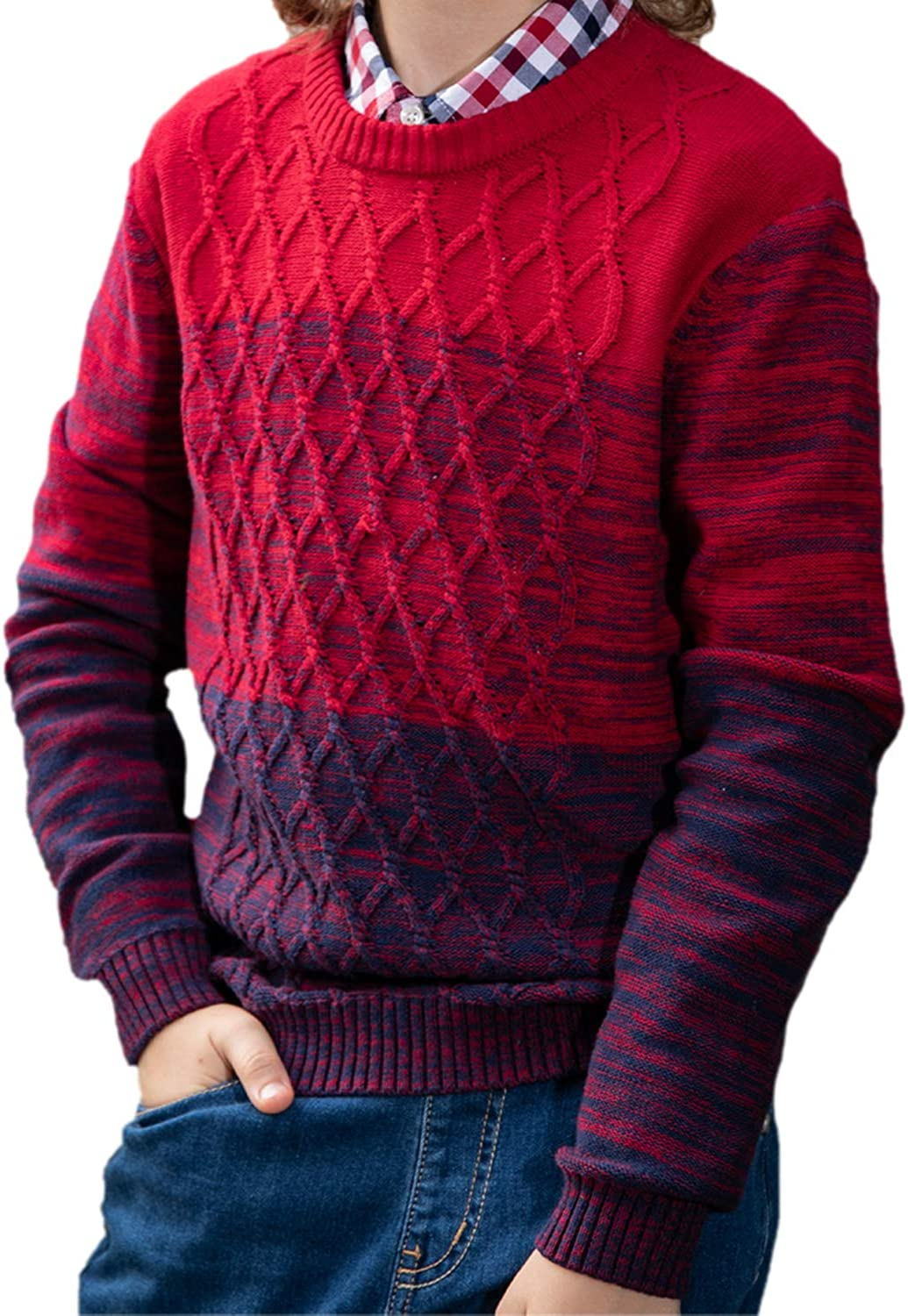 BOBOYOYO Boys Sweater Pullover Kids Long Sleeve Round Neck Cotton Cable Knit Sweater Casual Wearing for Size 5-14Y