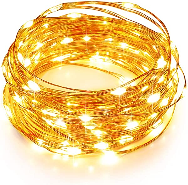 TaoTronics LED String Lights 33ft With 100 LEDs Waterproof Outdoor Indoor Decorative Lights For Bedroom Garden Patio Parties UL588 And TUVus Approved Copper Wire Lights Warm White