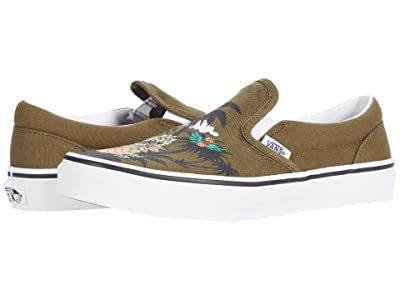 Vans Kids Classic Slip-On (Big Kid) ((Dineapple Floral) Military Olive/True White) Boys Shoes