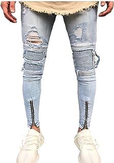 Letuwj Men's Motorcycle Ripped Skinny Jean