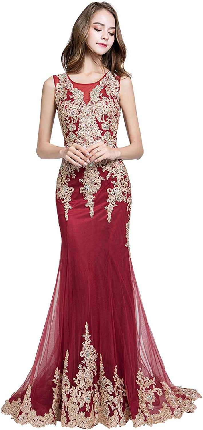 Belle House Womens Evening Dresses Long Formal Elegant Lace Prom Dresses  New Mermaid Gowns