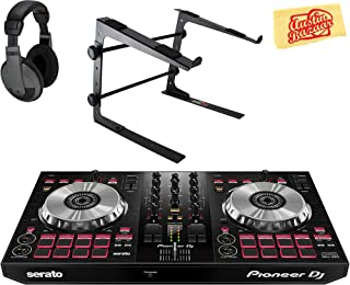Pioneer DDJ-SB3 DJ Controller for Serato DJ Lite Bundle with Stand, Headphones, and Austin Bazaar Polishing Cloth