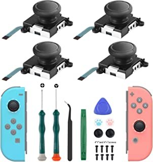 Joycon Joystick Replacement 4 Pack, 3D Replacement Joystick Analog for Nintendo Switch Joycon, Left/Right Thumb Stick with...