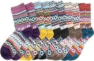 Achort Calze da Donna in Cotone Calze di lana, 5 Paia donne calzini inverno caldo morbido annata, Autunno Inverno Maglia C...