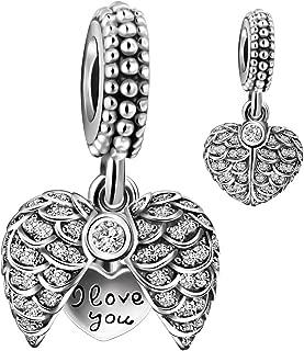 925 Sterling Silver AAA CZ Blue Enamel Angel Wings Open Heart Dangle Charm Bead for European Snake Bracelets