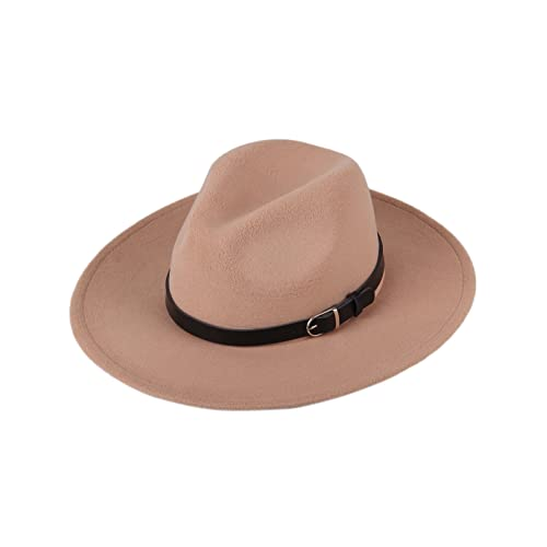 7b5c6d4b207f43 Dantiya Women's Wide Brim Wool Fedora Panama Hat with Belt