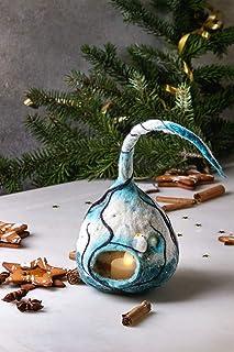 Lámpara de farol hecha a mano de la decoración de la Navidad con los árboles búho de la vela del invierno luces led Season...