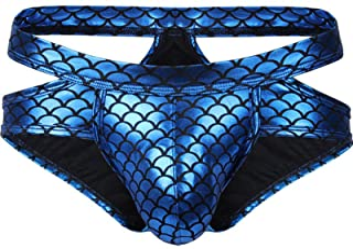 iixpin Men's Shiny Fish Scale Print Thongs Bulge Pouch Briefs Underpants Swimwear