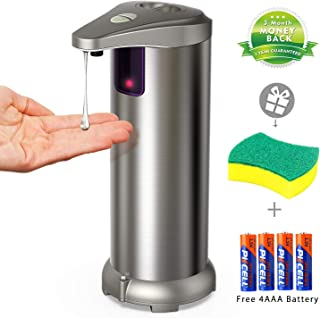 APANAGE Soap Dispenser, Touchless Automatic Soap Dispenser Equipped Stainless Steel w/Infrared Motion Sensor Upgraded Waterproof Base for Bathroom & Kitchen(Free 4 AAA Battery +1 Cleaning Sponge)