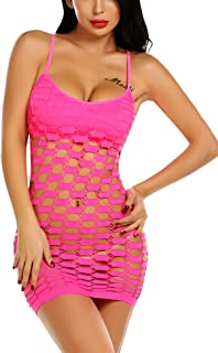 Avidlove Women's Fishnet Lingerie Mesh Hole Strap Chemise Badydoll Mini Dress