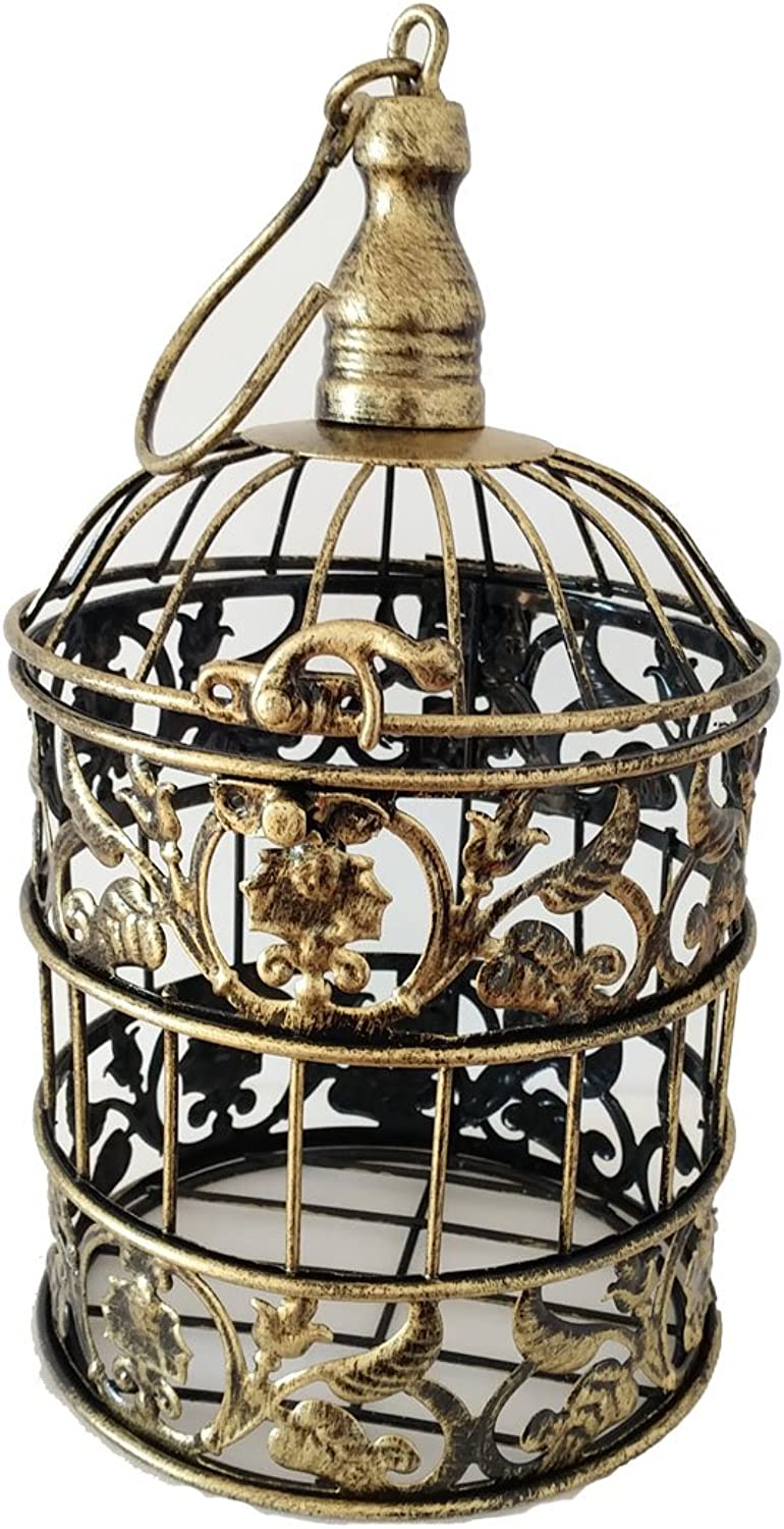 PET SHOW Round Birdcages Metal Wall Hanging Bird Cage for Small Birds Wedding Party Indoor Ourdoor Decoration 9.8INCH Bronze Pack of 1