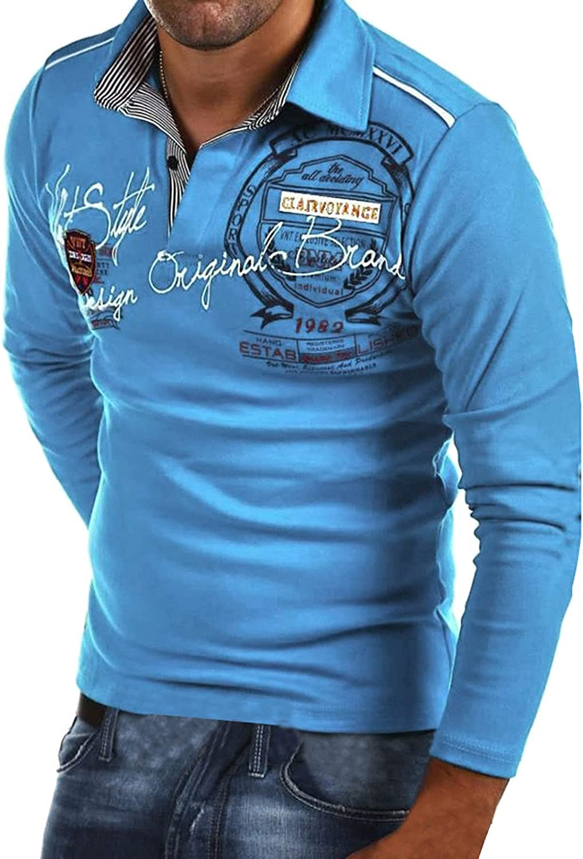 Fashion Men's Casual Slim Print Long Sleeve T Shirt Top Blouse Shirt