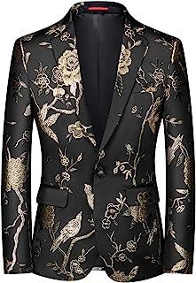 YOUTHUP Mens Embroidery Blazer Slim Fit Flowery Suit Jacket Stylish Floral Tuxedo Jackets