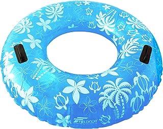 FIELDOOR ジャンボ 浮き輪 直径105cm ブルー (ヤシの木柄) 大人用