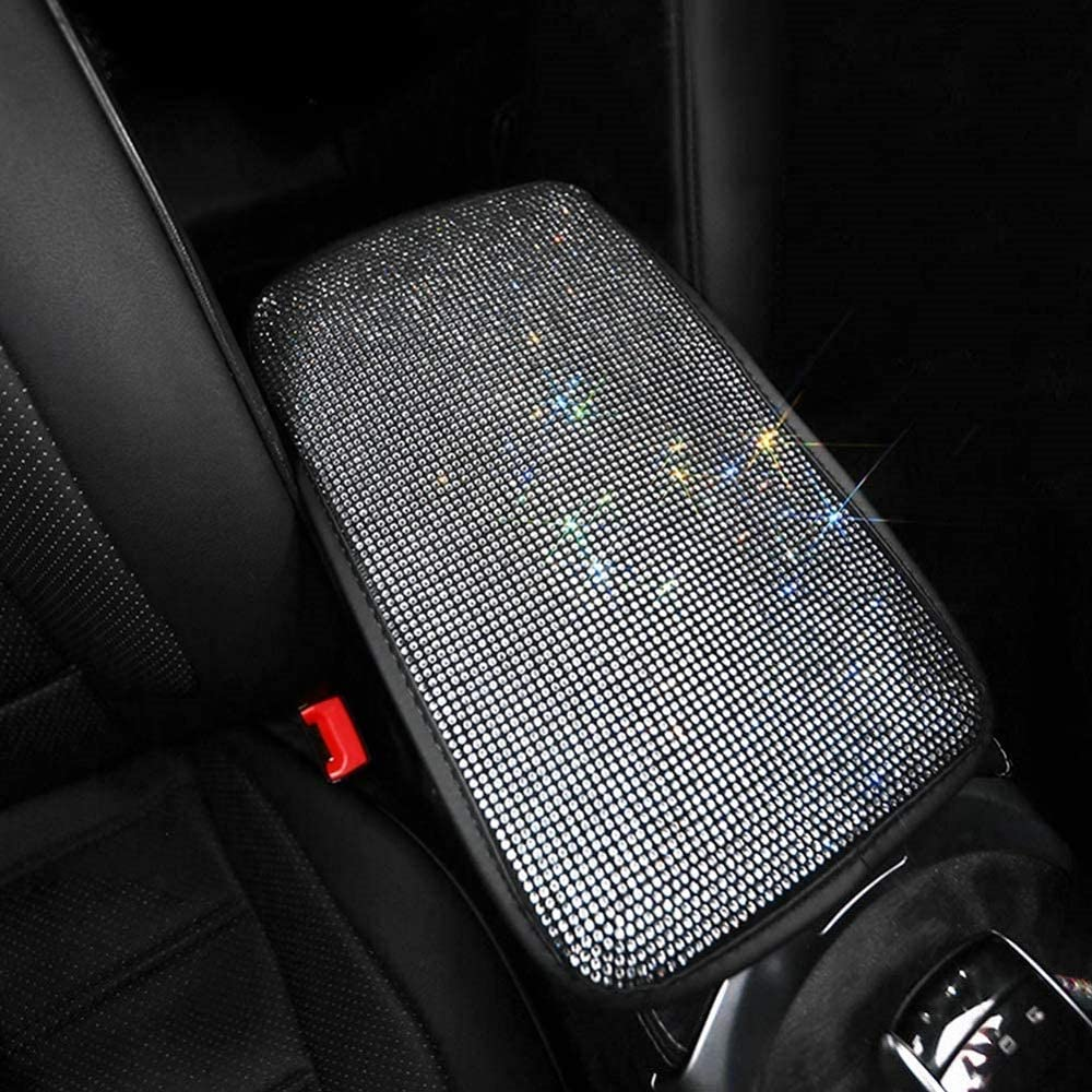 EGFheal Bling Bling Diamond Auto Center Console Pad Universal Car Armrest Seat Box Cover Protector Car Decor Accessories for Women White diamond