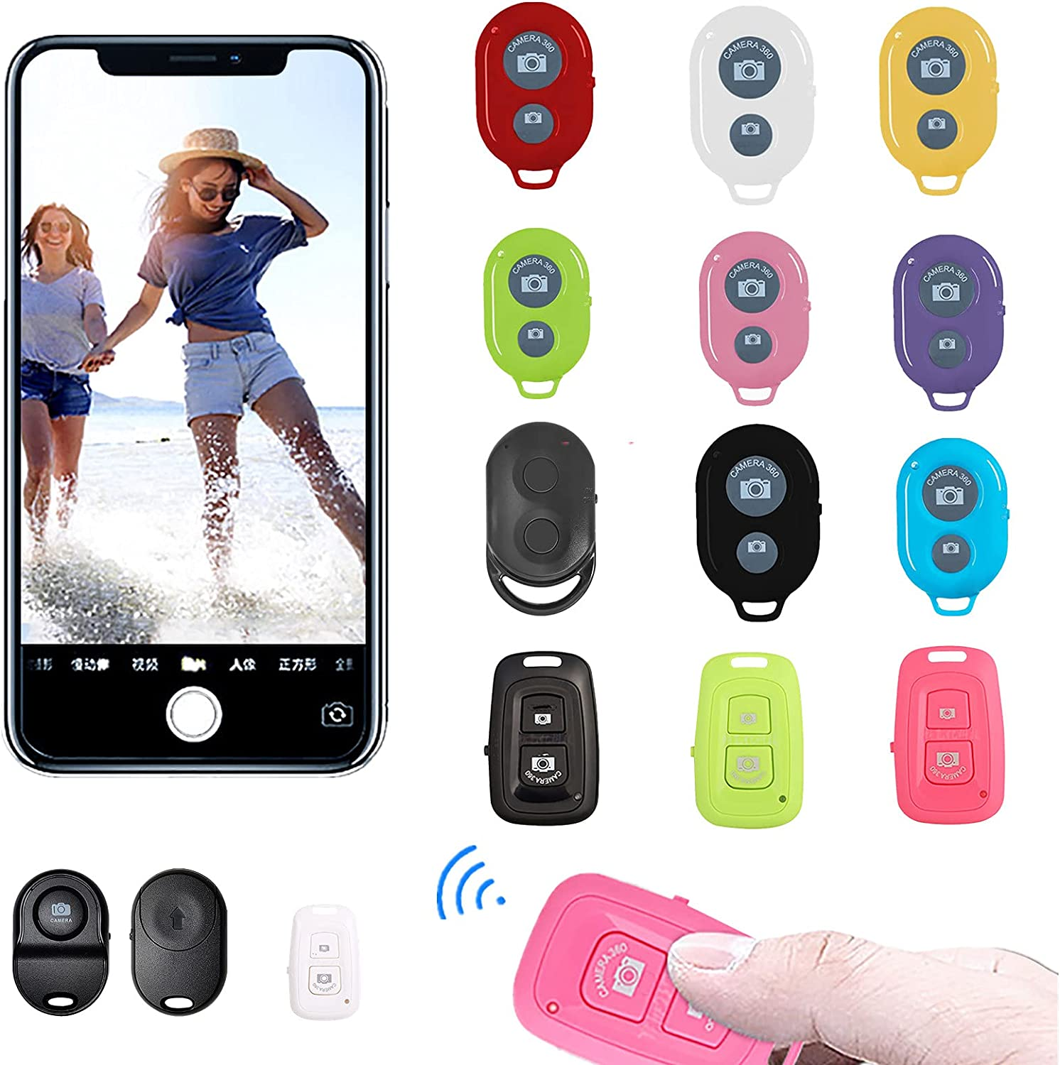 Shirazawa Camera Shutter Remote Control with Bluetooth Wireless Technology Compatible with iPhone/Most iOS and Android Smartphones, Create for Taking Photos and Videos/Selfies by Hands Free (B-Black)