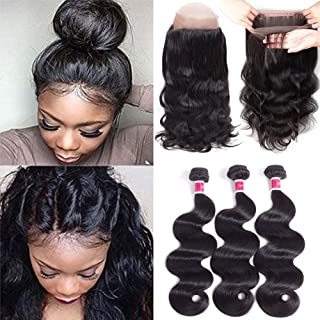 Funky girl Hair360 Lace Frontal With Bundles Brazilian Body Wave Virgin Hair With Frontal Closure Natural Black Color (22 24 26 With 20Inch 360Frontal)