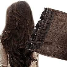 3/4 Full Head Clip in Hair Extension Human Hair 24 inch Dark Brown #2 One Piece 5 Clips/60g 100% Real Remy Hair Natural Soft Long Straight Hair