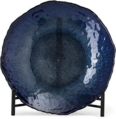 """Imax 83195 Indigo Glass Charger, 15.75"""" inches, Beautiful Display or Food Safe Serving Dish with Ocean Blue Colors"""