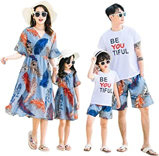 Elufly Summer Family Matching Outfits Floral Mommy Daughter Dresses & Daddy Babies T-Shirt Pants Parent-Child Clothing (Dad B, XXXL)