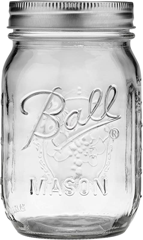Ball Pint Regular Mouth Mason Jar With Lids And Bands 16 Ounces 1 Unit