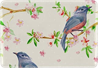 Mydaily Bird Watercolor Flowering Twigs Leather Passport Holder Cover Case Protector