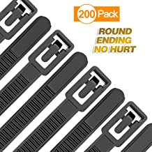 Reusable Zip Ties Heavy Duty Round Ending No Hurt 6+8+10+12 Inch 200 Packs Assorted Size Tie Wraps Ultra Strong Durable Black Cable Ties Indoor Outdoor Multi-Purpose No Slip Off (200, Black)