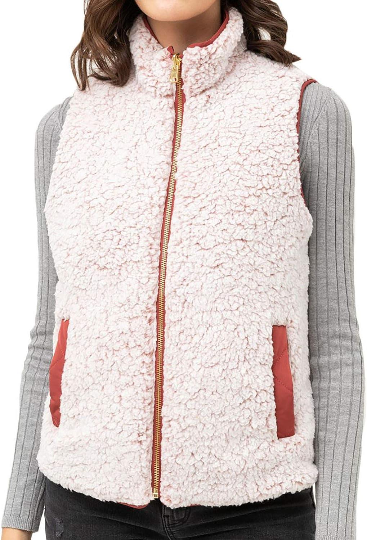 Reversible Quilted Sherpa Fleece Fur Zip up padding Vest Jacket (S-3X)