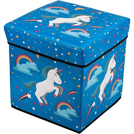 Foldable Cube Storage Toy Box - Folding Storage Ottoman Bedroom Stool Seat Children for Kids & Toddlers (Blue)
