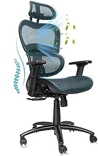 Komene オフィスチェア 人間工学椅子 メッシュ椅子 通気性抜群 ハイバック事務椅子 昇降機能付き 腰痛椅子 調節可能アームレストと ヘッドレスト 135度リクライニングチェア 腰サポー付き 360度回転 パソコンチェア デスクチェア 男女...
