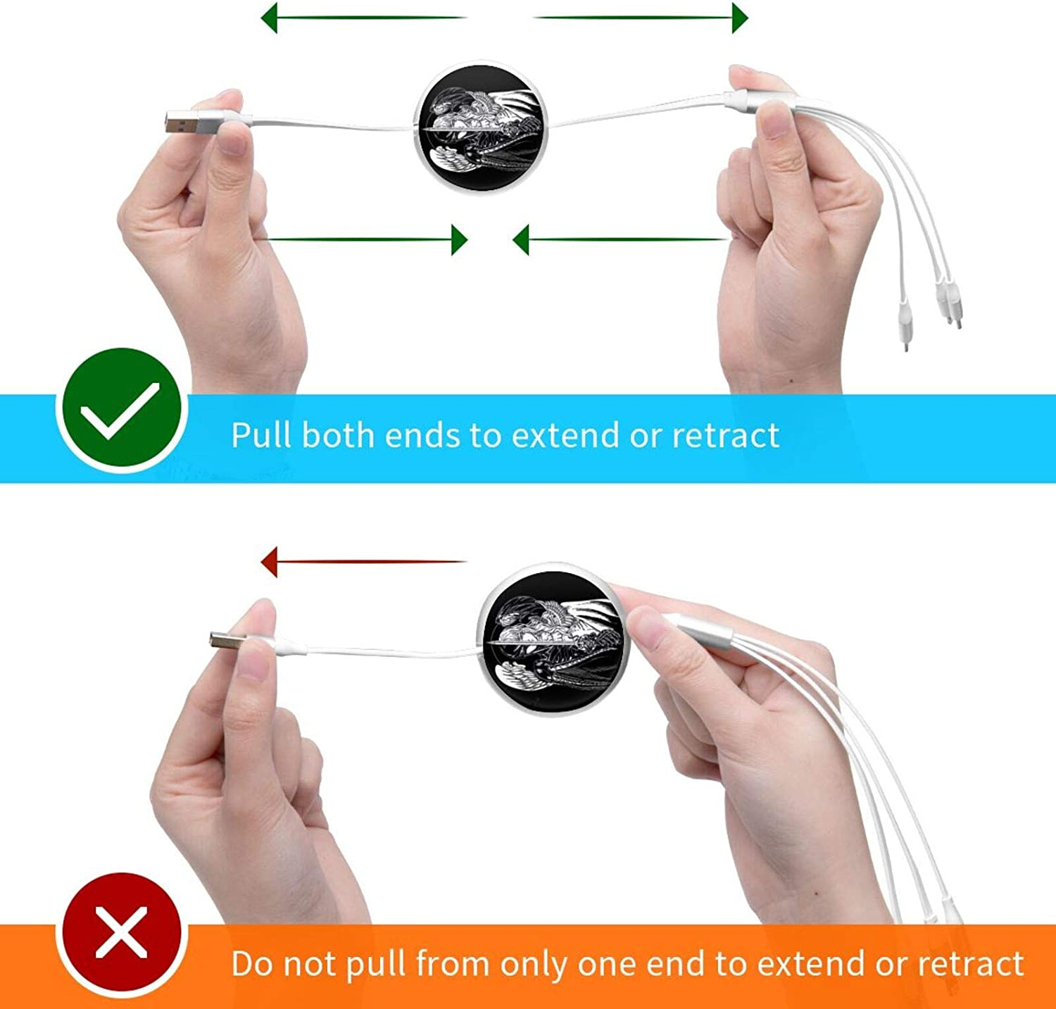 Anime Berserk 3 in 1 Retractable Multiple Charging Cable 3.0a Fast Charger Cord with Phone//Type C//Micro USB Charge Port Adapter Compatible with Cell Phones Tablets and More