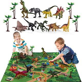 TEMI Dinosaur Toy Figure W/ Activity Play Mat & Trees, Educational Realistic Dinosaur Playset to Create A Dino World Including T-Rex, Triceratops, Velociraptor, for Kids, Boys & Girls
