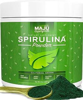 MAJU`s Spirulina Powder, Microcystin Free, USA Grown, Non-Irradiated, Non-GMO, Preferred to Chlorella, Pesticide-Free, Preferred to Organic Hawaiian & Blue Algae, Pure Vegan Green Protein