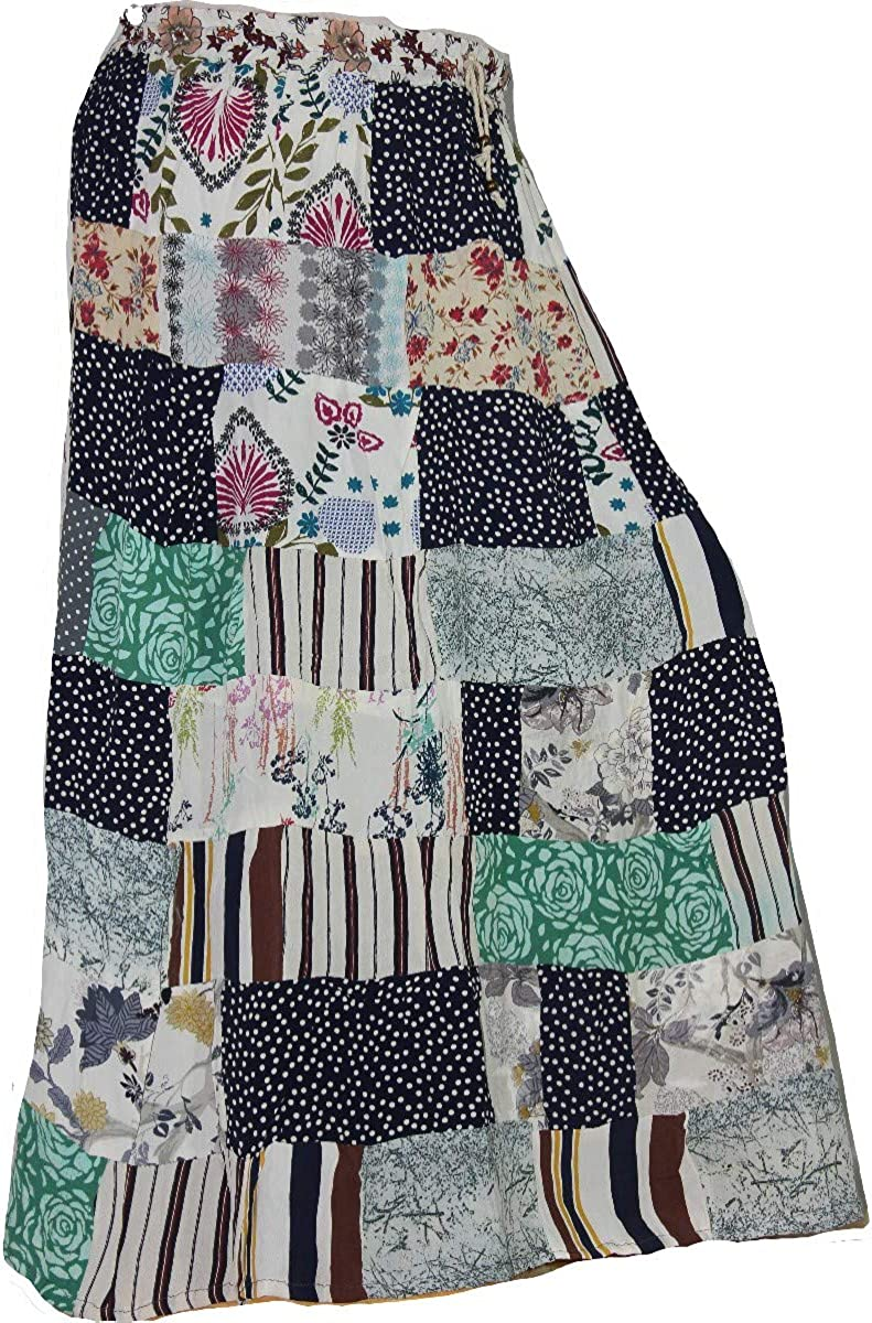 Rayon Skirt Designer Spring Summer India Clothing Long Maxi Ladies Casual Boho Floral Print Patchwork Missy Plus Polka Dot Skirt 2