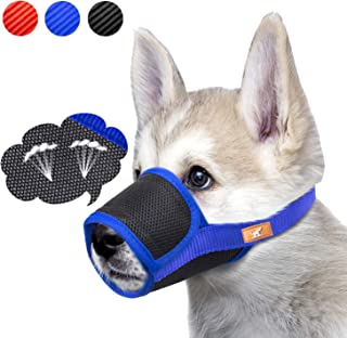 Dog Muzzle Mesh Mask Stop Biting, Barking and Chewing, Cover with Hook & Loop for Dogs, Adjustable, Breathable
