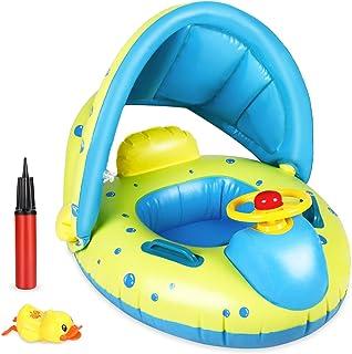 Flotador para Bebé, joylink Anillo de Natación con Toldo, Barco Flotador Divertido de Piscina y Playa, Hinchable Baby Swim Float Boat para Niños de 12 a 36 Meses
