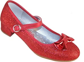 Girls' Red Sparkly Dress Occasion Party Heeled Dorothy Shoes Synthetic Mary-Jane