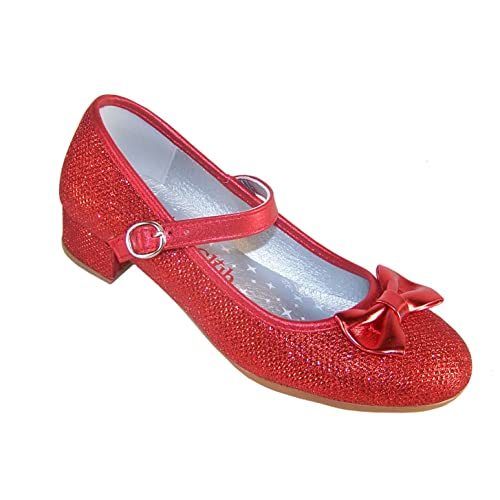 32b4605db7a Girls Red Sparkly Glitter Low Heeled Party Shoes for All Special Occasions.