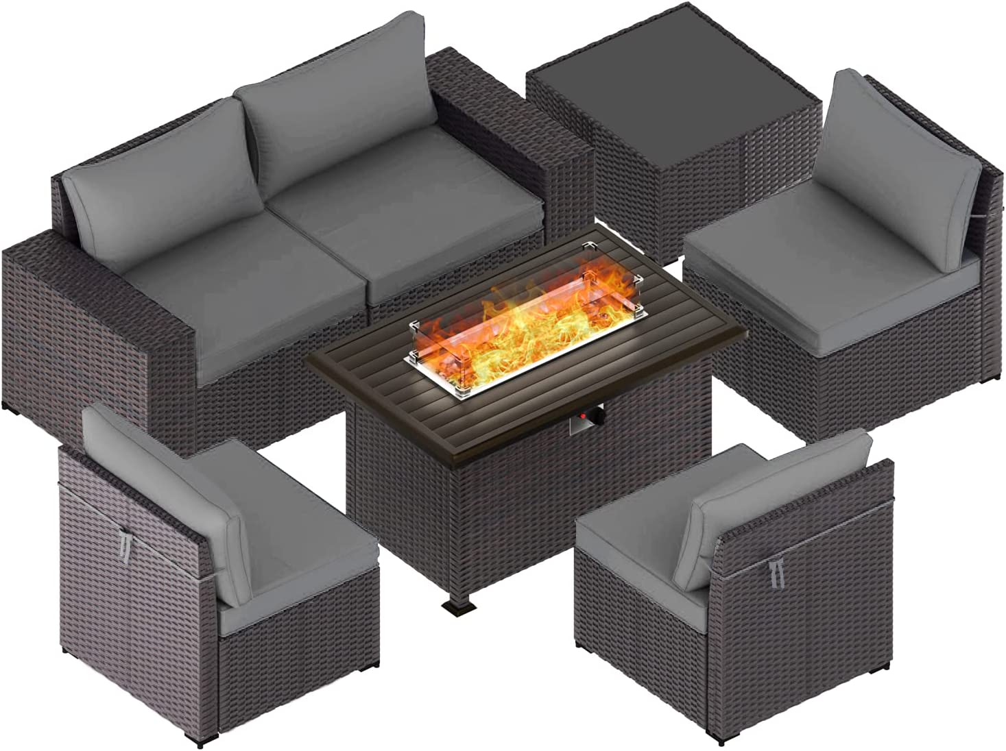 Kullavik 7 Pieces Outdoor Great interest Patio Gas Low price with Furniture Propane Fire