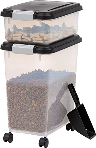 IRIS USA 3-Piece Airtight Food Storage Container Combo with Scoop for pet, dog, cat and bird food