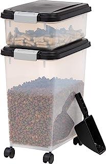IRIS USA, Inc. Airtight Pet Food and Treat Storage Container Combo, Gray, black (500090)