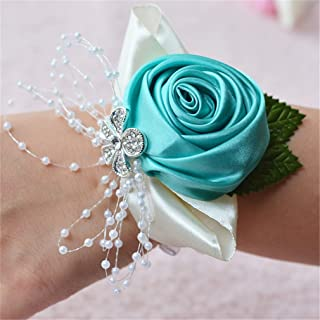 Prettybuy 2pcs Package Wedding Prom Party Satin Rose Wrist Corsage Flower w/ Pearl Rhinestone Fabric Leaves Ornament Wirstband (Tiffanly Blue)