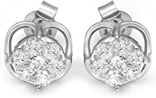 Mothers day gifts Diamond Earrings for Mom Lab Grown Cluster Diamond Earrings IGI Certified 1/2 Ct to 1 carat Diamond Earrings For Women Lab Created 10K & 14K White Gold Diamond Earrings Best Mothers