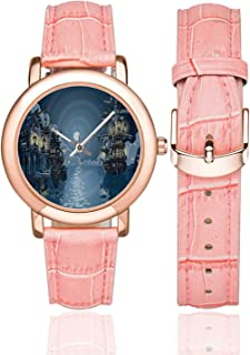 Leaf Rose Gold Leather Strap Watch,Romantic Holiday Island Hawaiian Banana Trees Watercolored Image Decorative for Woman,Case Diameter:1.4