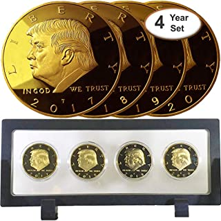 Donald Trump 4 Gold Coin Set, 45th Term Presidential Collector's Edition, Commemorative Gold Plated Replica Coins 2017-2018 - 2019-2020, Rectangle Display Case, Cert. of Authenticity (Black 1Pack)