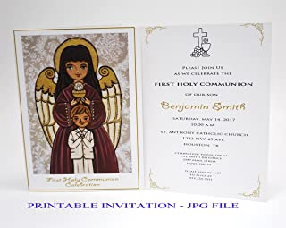 Boy first communion invitation boy Guardian angel Boy first holy communion invitation boy Religious invitation boy First communion invites Spanish invitation First communion invitation printable