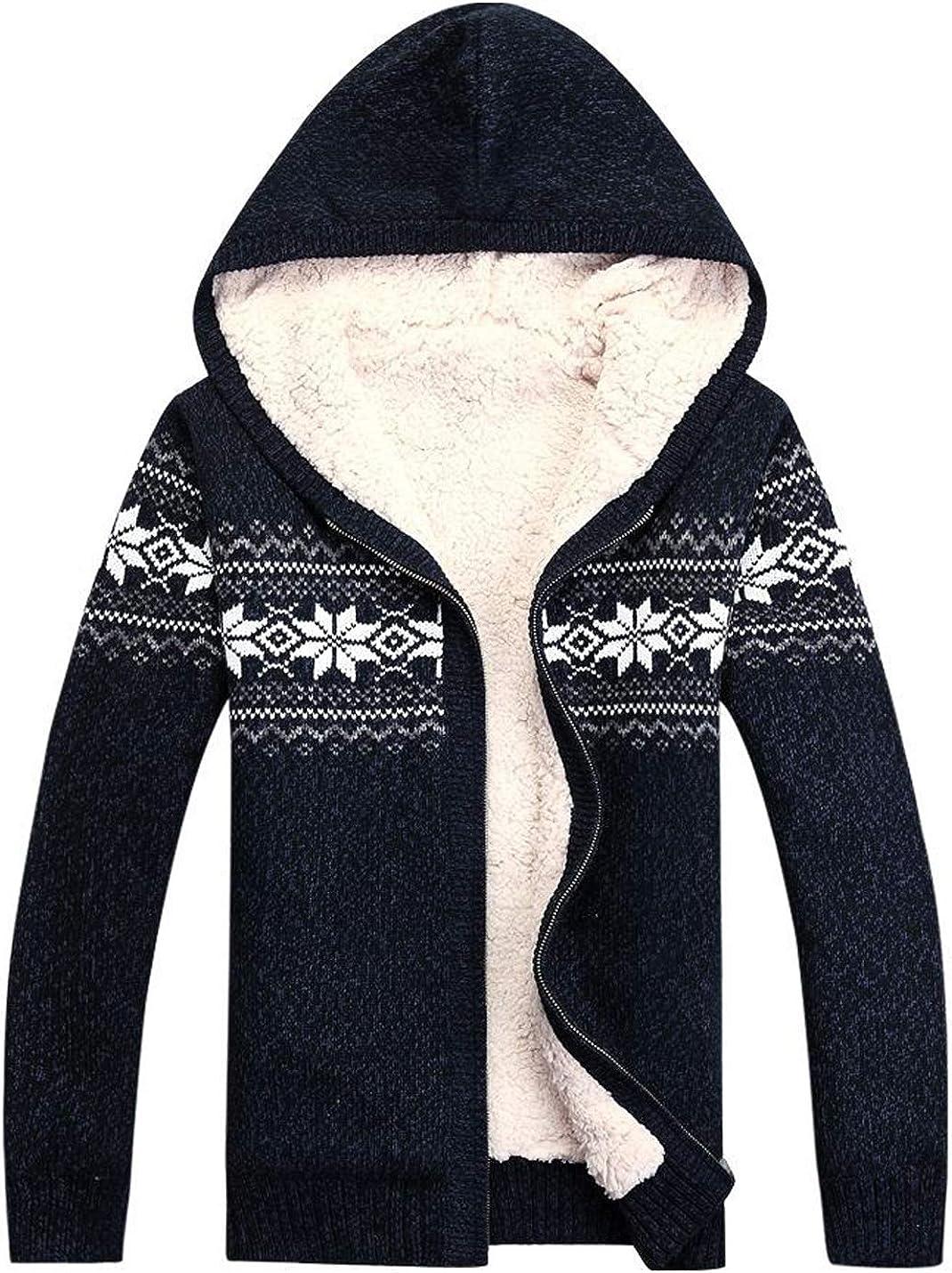 Omoone Men's Slim Snowflake Printed Fleece Lined Sweater Hoodie Knitted Jacket